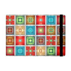Tiles Pattern Background Colorful Apple Ipad Mini Flip Case