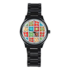 Tiles Pattern Background Colorful Stainless Steel Round Watch