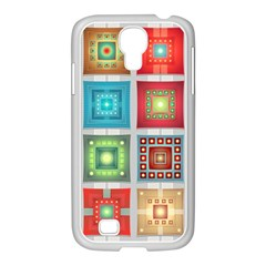 Tiles Pattern Background Colorful Samsung Galaxy S4 I9500/ I9505 Case (white)