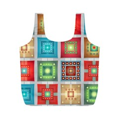 Tiles Pattern Background Colorful Full Print Recycle Bags (m)
