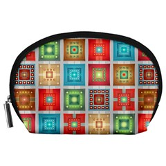 Tiles Pattern Background Colorful Accessory Pouches (large)