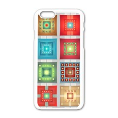 Tiles Pattern Background Colorful Apple Iphone 6/6s White Enamel Case