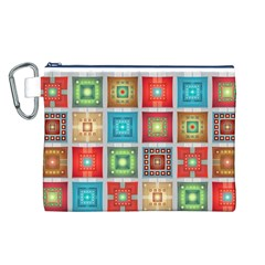 Tiles Pattern Background Colorful Canvas Cosmetic Bag (l)