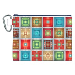 Tiles Pattern Background Colorful Canvas Cosmetic Bag (xxl)