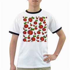 Peaches pattern Ringer T-Shirts
