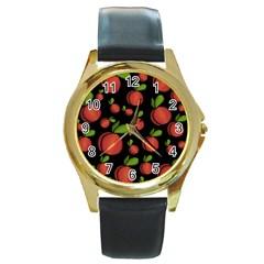 Peaches Round Gold Metal Watch