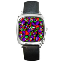 Plums and peaches Square Metal Watch