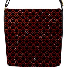 Scales2 Black Marble & Red Marble Flap Closure Messenger Bag (s)