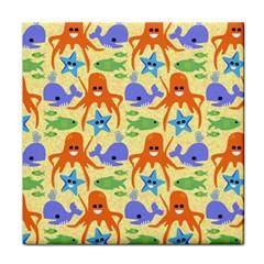 Calamari Squid Whale Tile Coasters