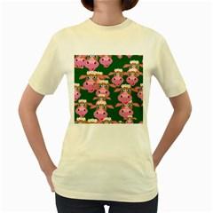 Cow Pattern Women s Yellow T Shirt