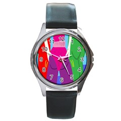 Initial Thumbnails Round Metal Watch