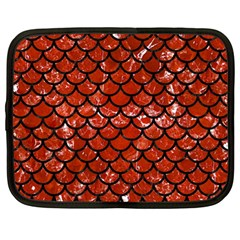 Scales1 Black Marble & Red Marble (r) Netbook Case (large)