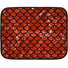 Scales1 Black Marble & Red Marble (r) Double Sided Fleece Blanket (mini)