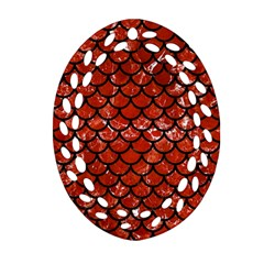 Scales1 Black Marble & Red Marble (r) Ornament (oval Filigree)
