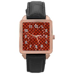 Scales1 Black Marble & Red Marble (r) Rose Gold Leather Watch
