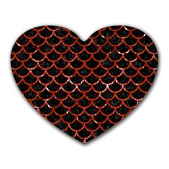 Scales1 Black Marble & Red Marble Heart Mousepad