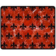 Royal1 Black Marble & Red Marble Fleece Blanket (medium)