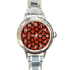Hexagon2 Black Marble & Red Marble (r) Round Italian Charm Watch