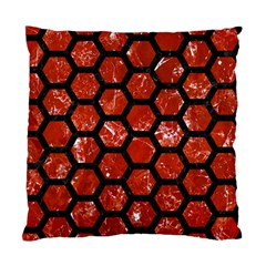 Hexagon2 Black Marble & Red Marble (r) Standard Cushion Case (two Sides)