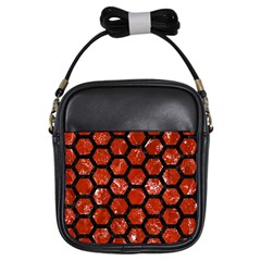 Hexagon2 Black Marble & Red Marble (r) Girls Sling Bag