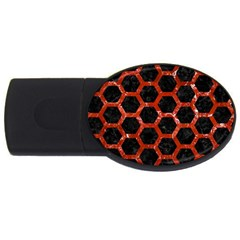 Hexagon2 Black Marble & Red Marble Usb Flash Drive Oval (2 Gb)