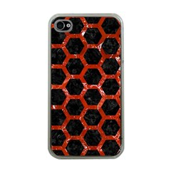 Hexagon2 Black Marble & Red Marble Apple Iphone 4 Case (clear)