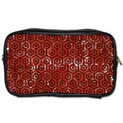 Hexagon1 Black Marble & Red Marble (r) Toiletries Bag (two Sides)