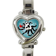 Panda Octopus Fish Blue Heart Italian Charm Watch