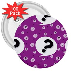 Question Mark Sign 3  Buttons (100 Pack)