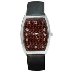 Hexagon1 Black Marble & Red Marble Barrel Style Metal Watch