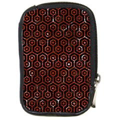 Hexagon1 Black Marble & Red Marble Compact Camera Leather Case