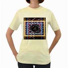 Abstract Sphere Room 3d Design Women s Yellow T Shirt