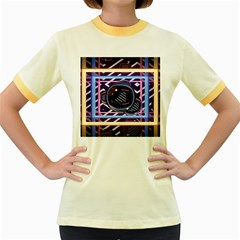 Abstract Sphere Room 3d Design Women s Fitted Ringer T-Shirts