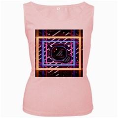 Abstract Sphere Room 3d Design Women s Pink Tank Top