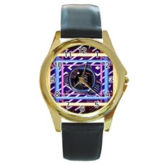 Abstract Sphere Room 3d Design Round Gold Metal Watch