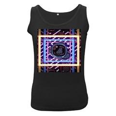 Abstract Sphere Room 3d Design Women s Black Tank Top