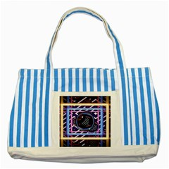 Abstract Sphere Room 3d Design Striped Blue Tote Bag