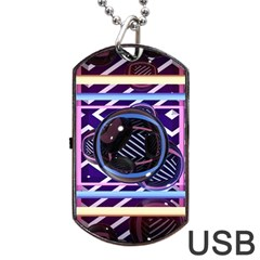 Abstract Sphere Room 3d Design Dog Tag Usb Flash (two Sides)