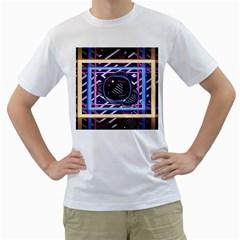 Abstract Sphere Room 3d Design Men s T Shirt (white)