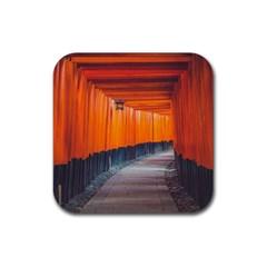 Architecture Art Bright Color Rubber Square Coaster (4 Pack)