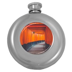 Architecture Art Bright Color Round Hip Flask (5 Oz)