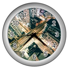 Architecture Buildings City Wall Clocks (silver)