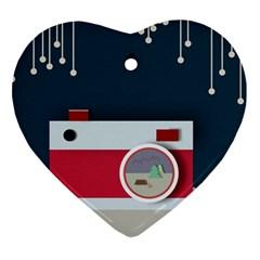 Camera Vector Illustration Ornament (heart)