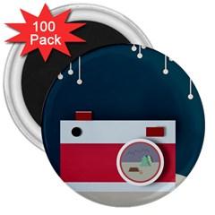 Camera Vector Illustration 3  Magnets (100 Pack)