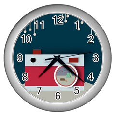 Camera Vector Illustration Wall Clocks (silver)