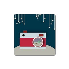 Camera Vector Illustration Square Magnet
