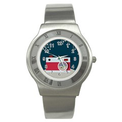 Camera Vector Illustration Stainless Steel Watch
