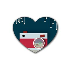 Camera Vector Illustration Heart Coaster (4 Pack)