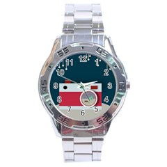 Camera Vector Illustration Stainless Steel Analogue Watch