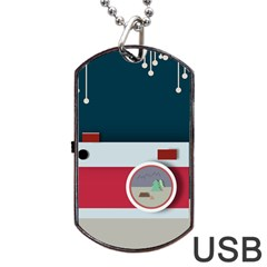 Camera Vector Illustration Dog Tag Usb Flash (two Sides)
